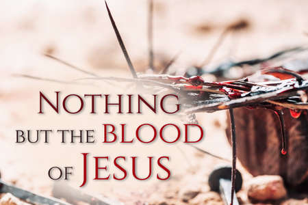 Bloody nails, crown of thorns with drops of blood on grunged background. Good Friday, Passion of Jesus Christ. Christian Easter holiday. Crucifixion, resurrection of Jesus Christ. Gospel, salvation
