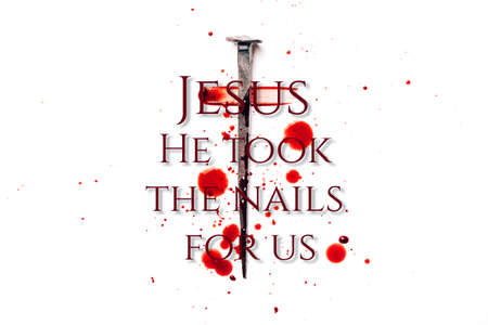 Christian cross made with rusty nails, drops of blood isolated on white background. Good Friday, Easter day. Christian backdrop. Biblical faith, gospel, salvation concept. Jesus Christ Crucifixion