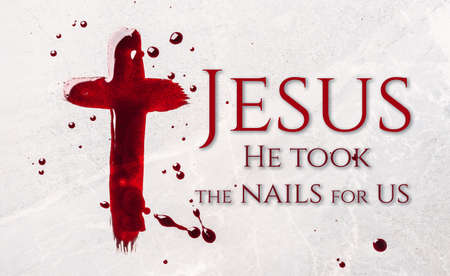 Christian cross painted with red blood on stone background. Copy space. Good friday. Passion, crucifixion of Jesus Christ. Christian Easter holiday. Crucifix, gospel, salvation concept. Banner
