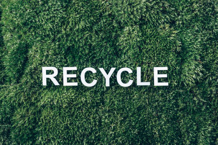 Word RECYCLE on moss, green grass background. Top view. Copy space. Banner. Biophilia concept. Nature backdrop. Earth day concept