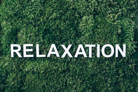 Word Relaxation on moss, green grass background. Top view. Copy space. Banner. Biophilia concept. Nature backdrop. Relax