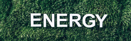 Word Energy on moss, green grass background. Top view. Copy space. Banner. Biophilia concept. Nature backdrop