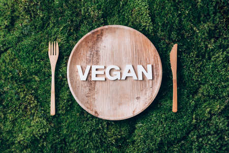 Wooden disposable tableware from natural materials with word VEGAN, wooden spoon, fork on green moss background. Eco-friendly sustainable lifestyle. Zero waste picnic 版權商用圖片