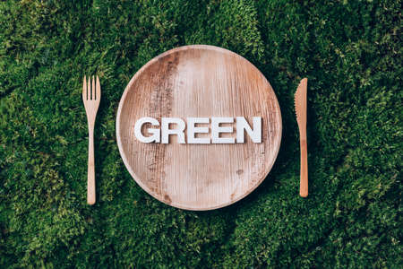 Wooden disposable tableware from natural materials with word GREEN, wooden spoon, fork on green moss background. Eco-friendly sustainable lifestyle. Zero waste picnic. Clean eating healthy cooking