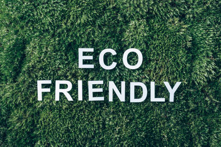 Inscription Eco friendly on moss, green grass background. Top view. Copy space. Banner. Biophilia concept. Nature backdrop 版權商用圖片