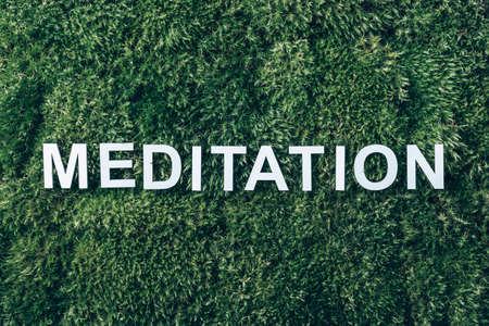 Word Meditation on moss, green grass background. Top view. Copy space. Banner. Biophilia trend. Nature backdrop. Peace of Mind, health concept 版權商用圖片
