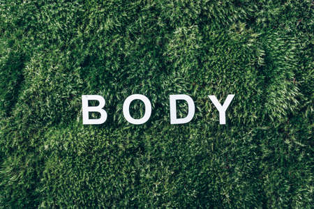 Word Body on moss, green grass background. Top view. Copy space. Banner. Biophilia trend. Nature backdrop. Body, mind, spirit and soul concept