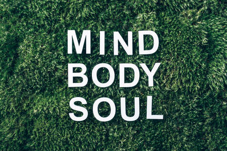 Words Body, mind, spirit and soul on moss, green grass background. Top view. Copy space. Banner. Biophilia concept. Nature backdrop. Work Life Balance concept
