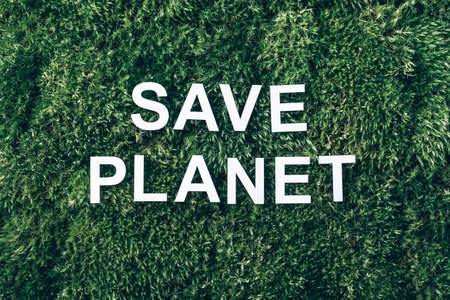 Inscription Save planet on moss, green grass background. Top view. Copy space. Banner. Biophilia concept. Nature backdrop