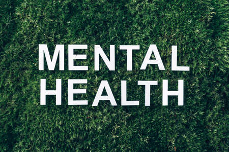 Inscription Mental health on moss, green grass background. Top view. Copy space. Banner. Biophilia concept. Nature backdrop 版權商用圖片