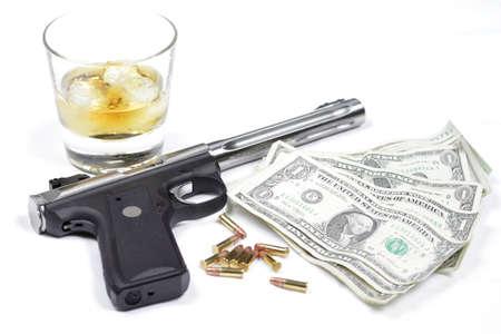 smuggling: Guns, Whiskey, Money Stock Photo