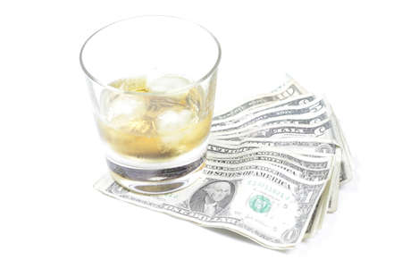 smuggling: Whiskey and Dollars Stock Photo