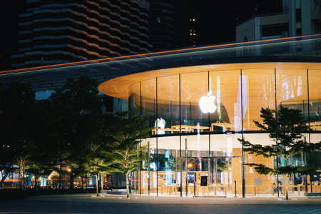 Bangkok,Thailand - July 30, 2020 : The new Apple Central World with beautiful light trails.