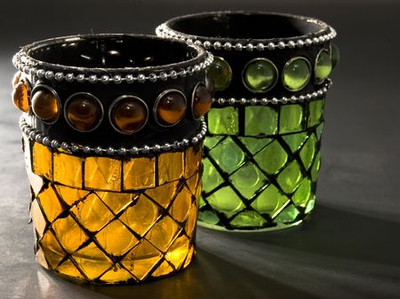 candle holder: Stained Glass Cups