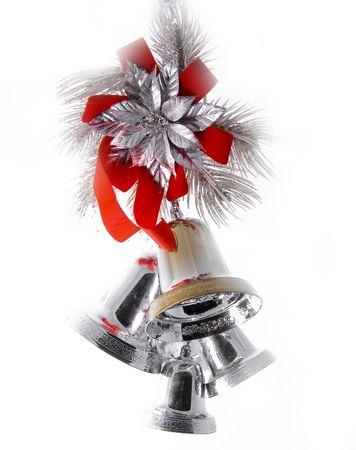 silver ribbon: Holiday Bells Stock Photo
