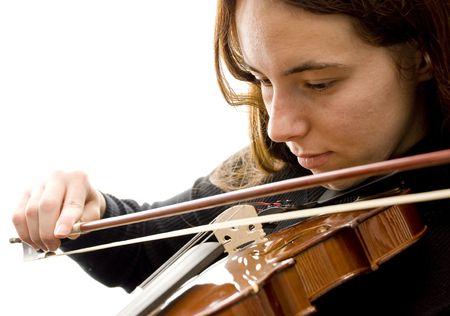 Girl Playing Violin on White photo