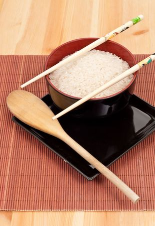 Asian Cuisine with Rice photo