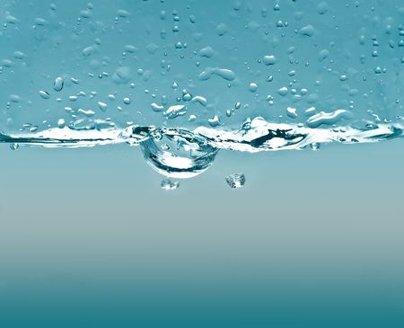 Water Bubbles with Dual Blue Gradients Stock Photo
