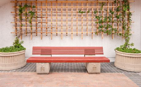 Wooden Bench with Plants and Wood Fence Background photo