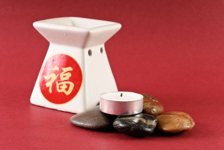 Candle on Smooth Stones with Ceramic Oil Burner photo