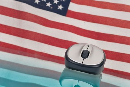 Computer Mouse with Reflection and Flag in Background Stock Photo - 8017053