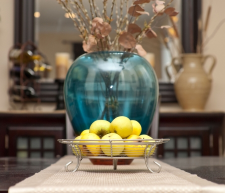 background settings: Contemporary Fruit Tray with Apples Centerpiece on Table