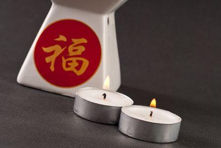 Lit Tea Candles with Oil Incense Burner photo
