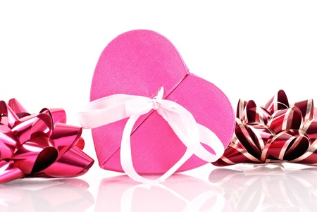 shaped: Heart Shaped Gift Box with Bows Stock Photo