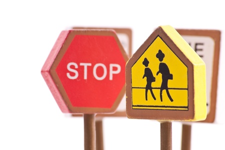 Pedestrian Crossing Sign with Other Traffic Signs Stock Photo - 8278573
