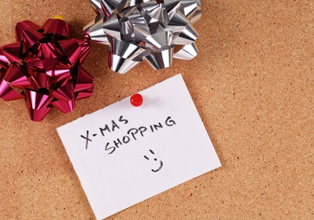 Christmas List on Cork Board photo