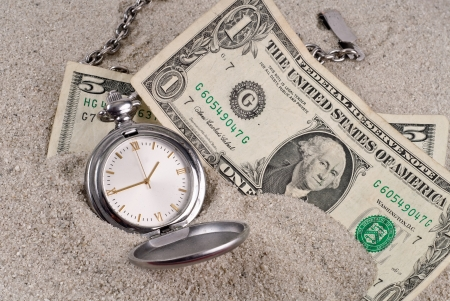 sand watch: Lost Time and Money Concept