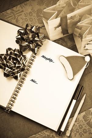imaginary line: Santas Good and Bad List Stock Photo