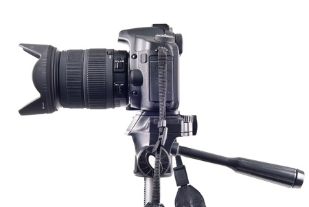 Professional DSLR Camera on Tripod Side View photo