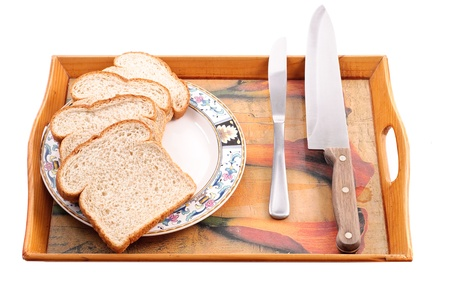 Wheat Bread and Plate on Serving Platter photo