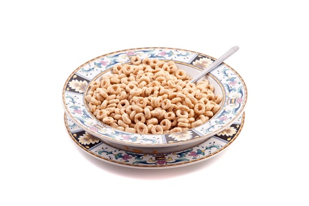 Bowl of Whole Grain O Shaped Cereal Stock Photo - 8549693