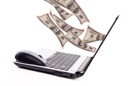 account: Explosion of Money from Laptop Computer Stock Photo
