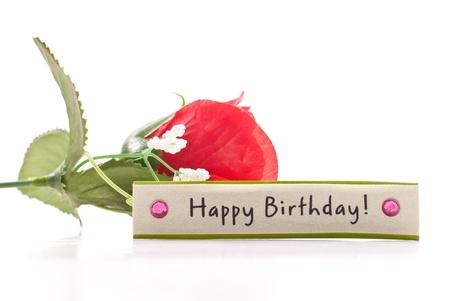 Happy Birthday Wish Tag with Fake Rose