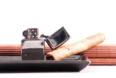 gas lighter: Stainless Steel Lighter with Cigar on Ashtray