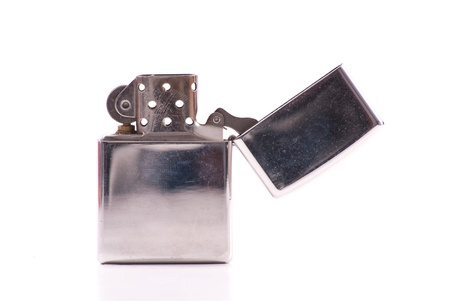 gas lighter: Fancy Stainless Steel Lighter Stock Photo