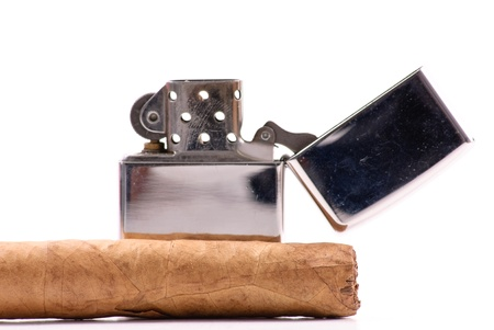 gas lighter: Cigar with Lighter Stock Photo