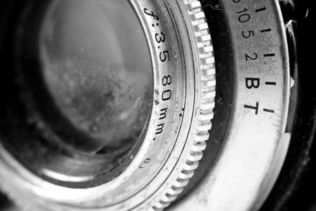 camera lens: Vintage Reflex Camera Lens hoek perspectief