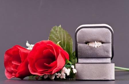 box size: 7 Stone Diamond Ring Stock Photo