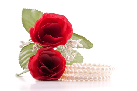 Strands of Fresh Water Pearls with Red Roses Stock Photo - 8855411