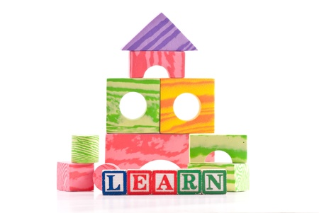 Basic Education with Building Blocks and Shapes Stock Photo - 8855419