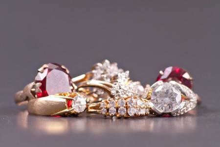 costume jewelry: Costume Jewelry Gold and Diamond Rings Stock Photo