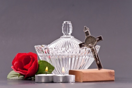 Crucifix with Holy Water in Large Crystal Dish photo