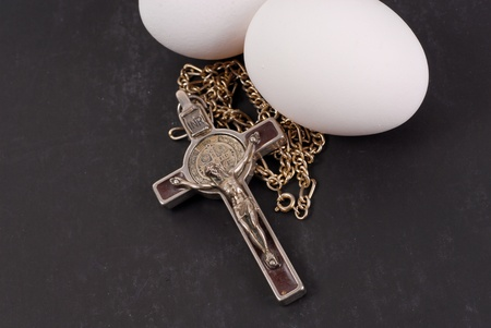 Crucifix and Eggs (Easter Holiday) photo