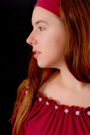 Side Profile Portrait of a Young Gypsy Girl Stock Photo - 9000492