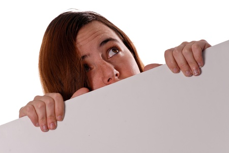 Terrified Girl Hiding Behind Wall and Looking Up Stock Photo - 9198310