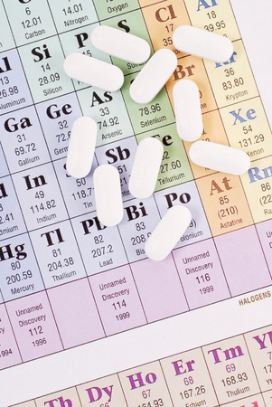 Scattered Pills on Periodic Table of Elements photo